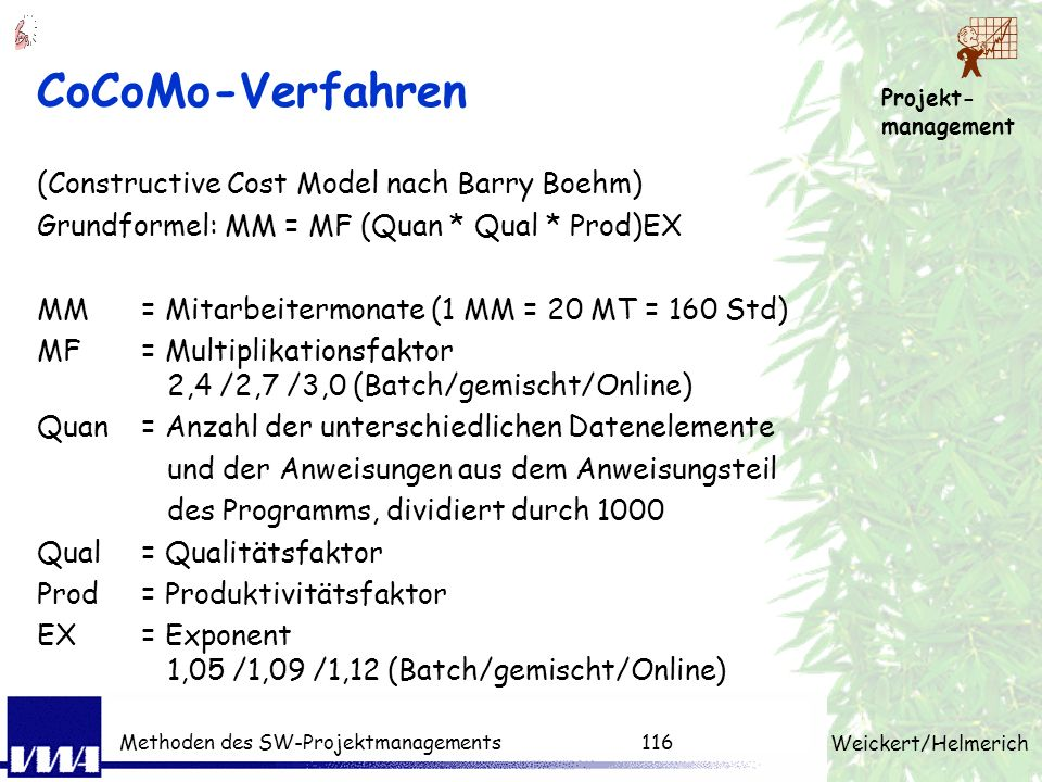 CoCoMo-Verfahren (Constructive Cost Model nach Barry Boehm)
