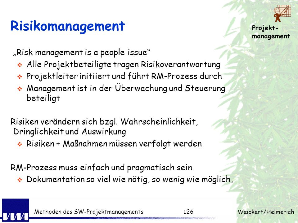 "Risikomanagement ""Risk management is a people issue"