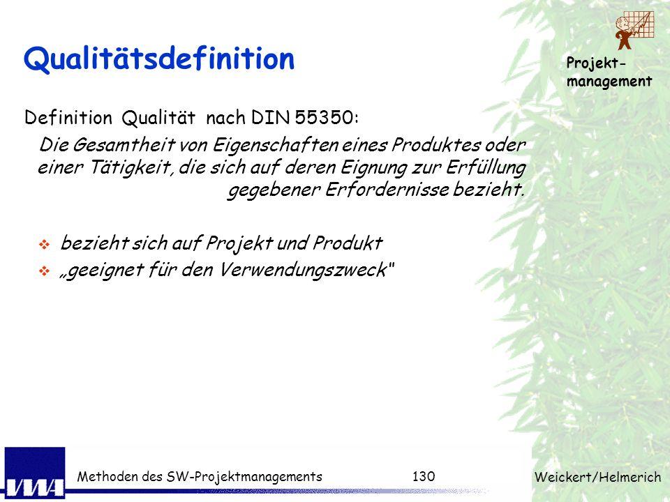 Qualitätsdefinition Definition Qualität nach DIN 55350:
