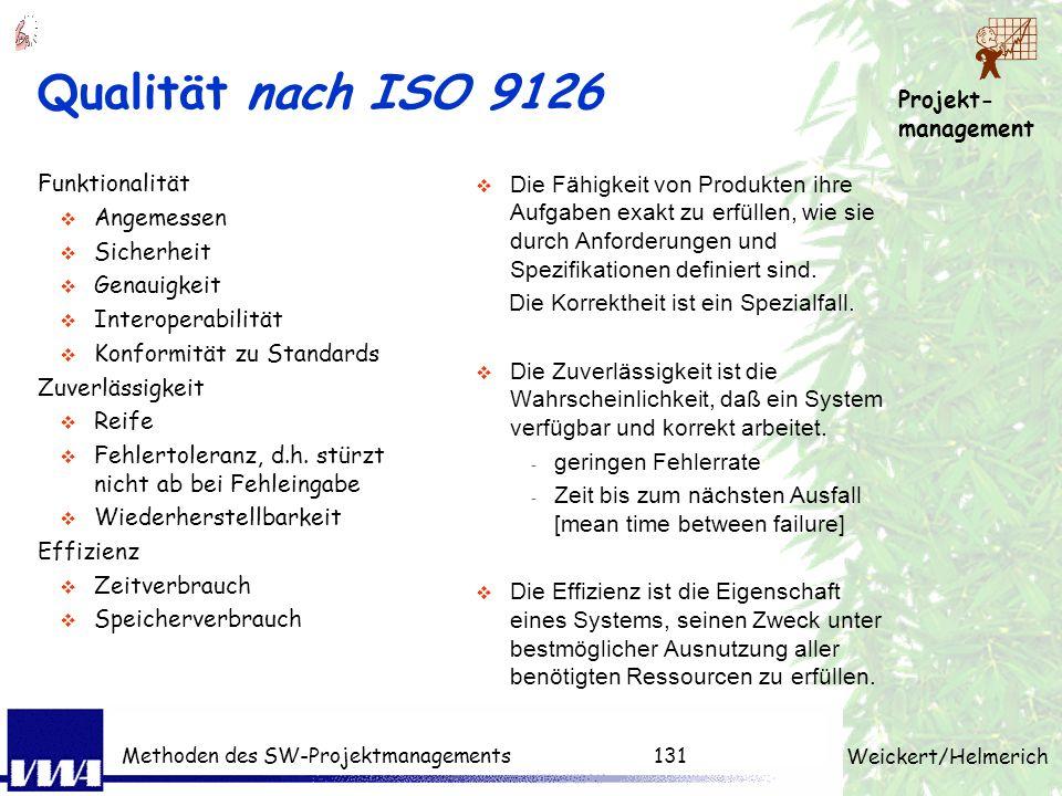Qualität nach ISO 9126 Funktionalität Angemessen Sicherheit