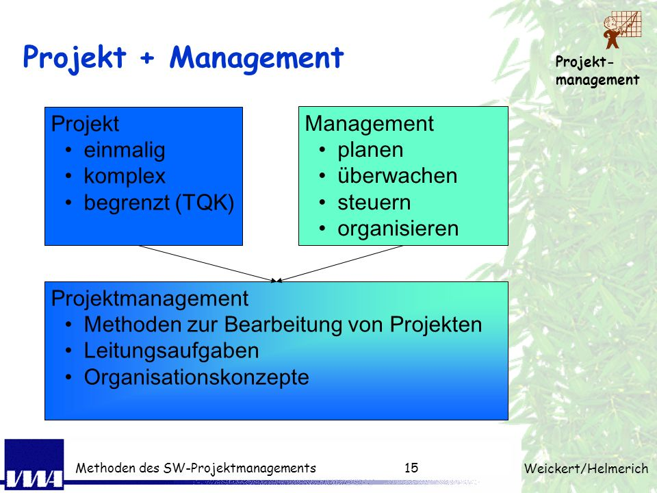 Projekt + Management Projekt Management einmalig planen komplex