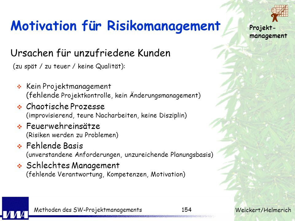 Motivation für Risikomanagement