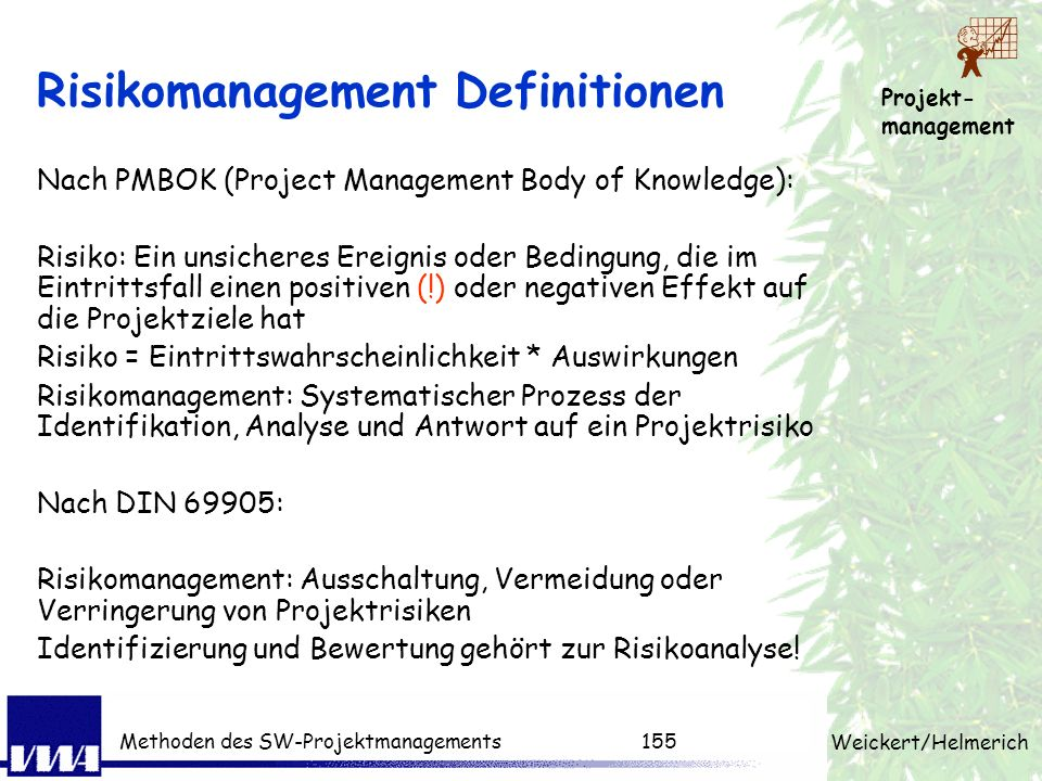 Risikomanagement Definitionen