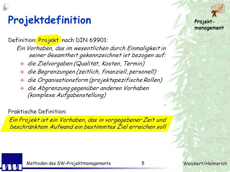 Projektdefinition Definition Projekt nach DIN 69901: