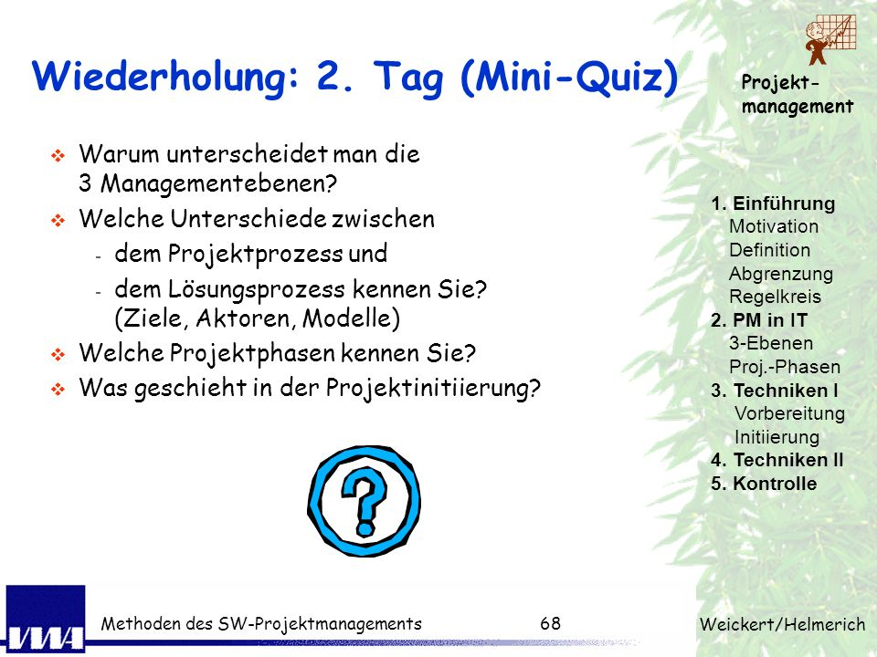 Wiederholung: 2. Tag (Mini-Quiz)