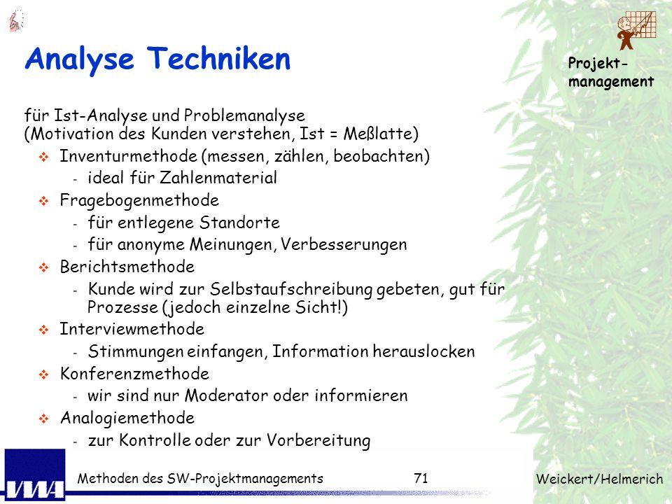 Analyse Techniken für Ist-Analyse und Problemanalyse (Motivation des Kunden verstehen, Ist = Meßlatte)