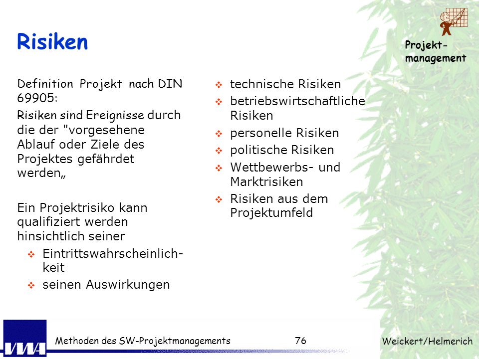 Risiken Definition Projekt nach DIN 69905: