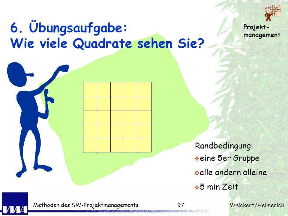 6. Übungsaufgabe: Wie viele Quadrate sehen Sie