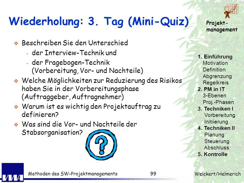 Wiederholung: 3. Tag (Mini-Quiz)