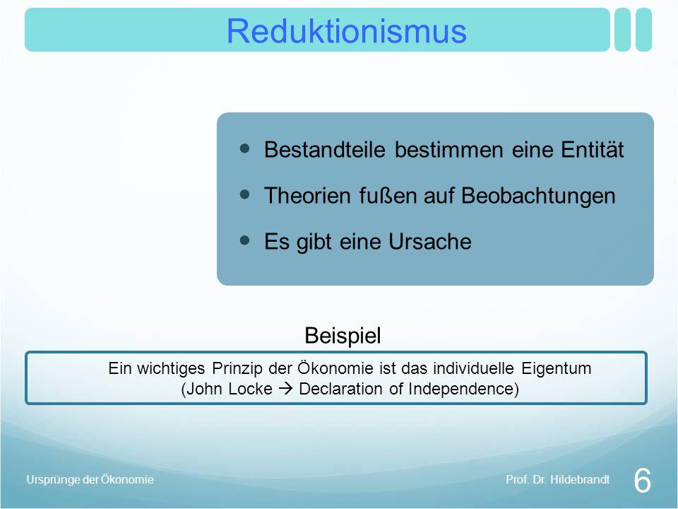 Reduktionismus 6 Bestandteile bestimmen eine Entität