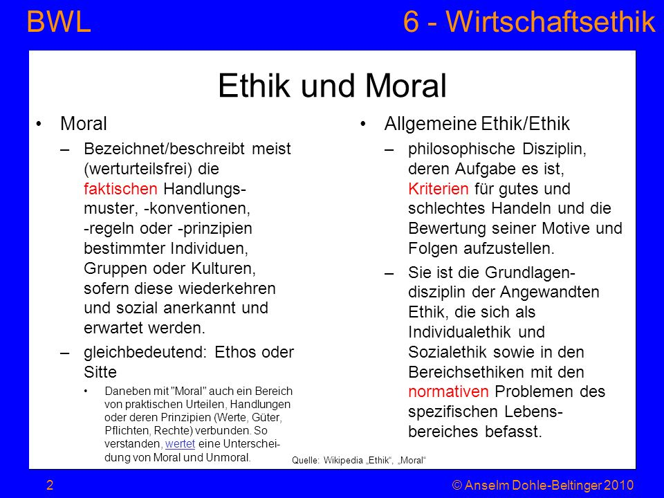 Ethik und Moral Moral Allgemeine Ethik/Ethik