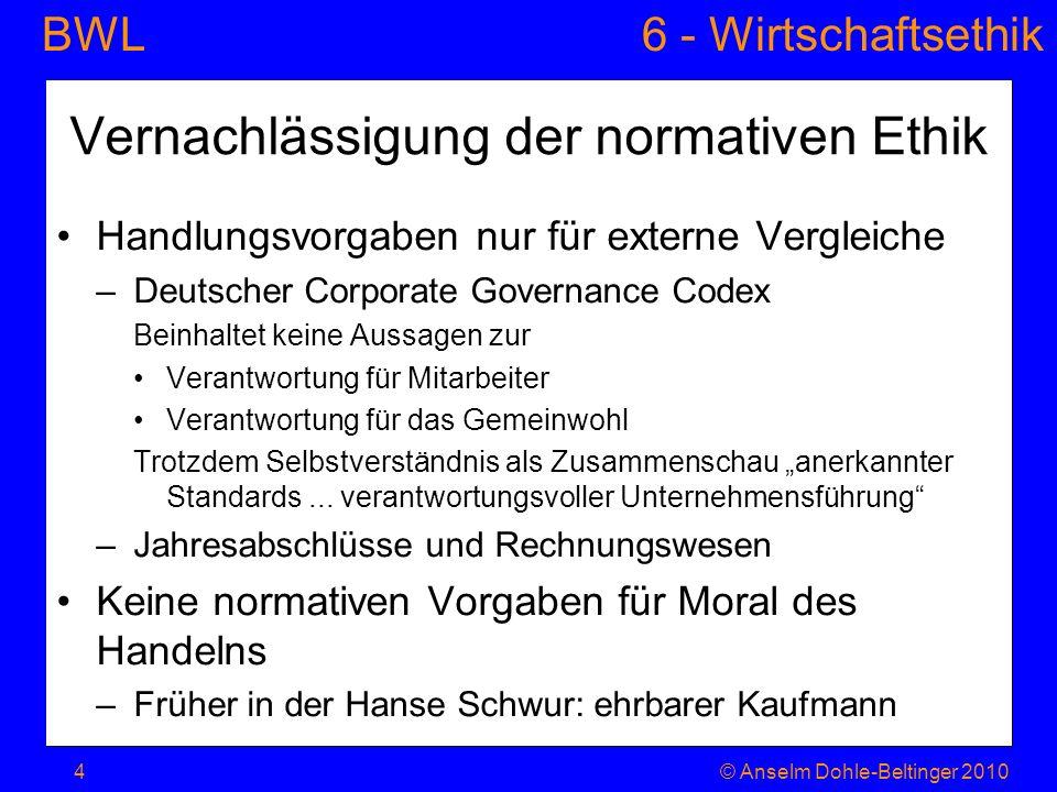 Vernachlässigung der normativen Ethik