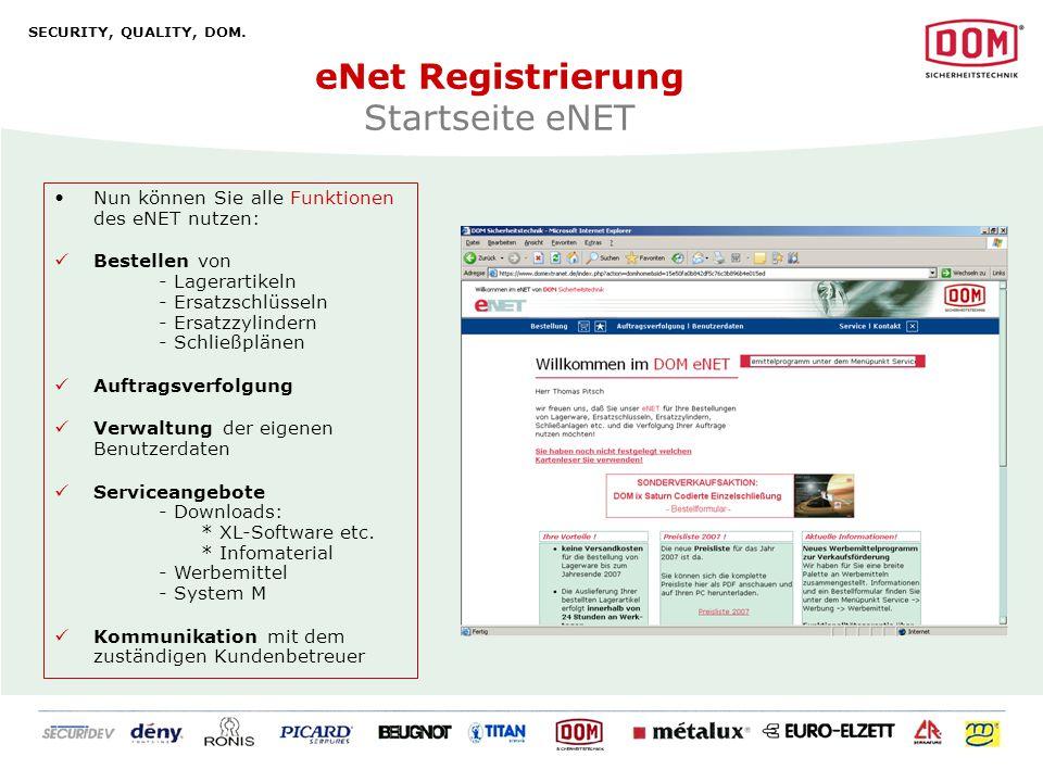 eNet Registrierung Startseite eNET