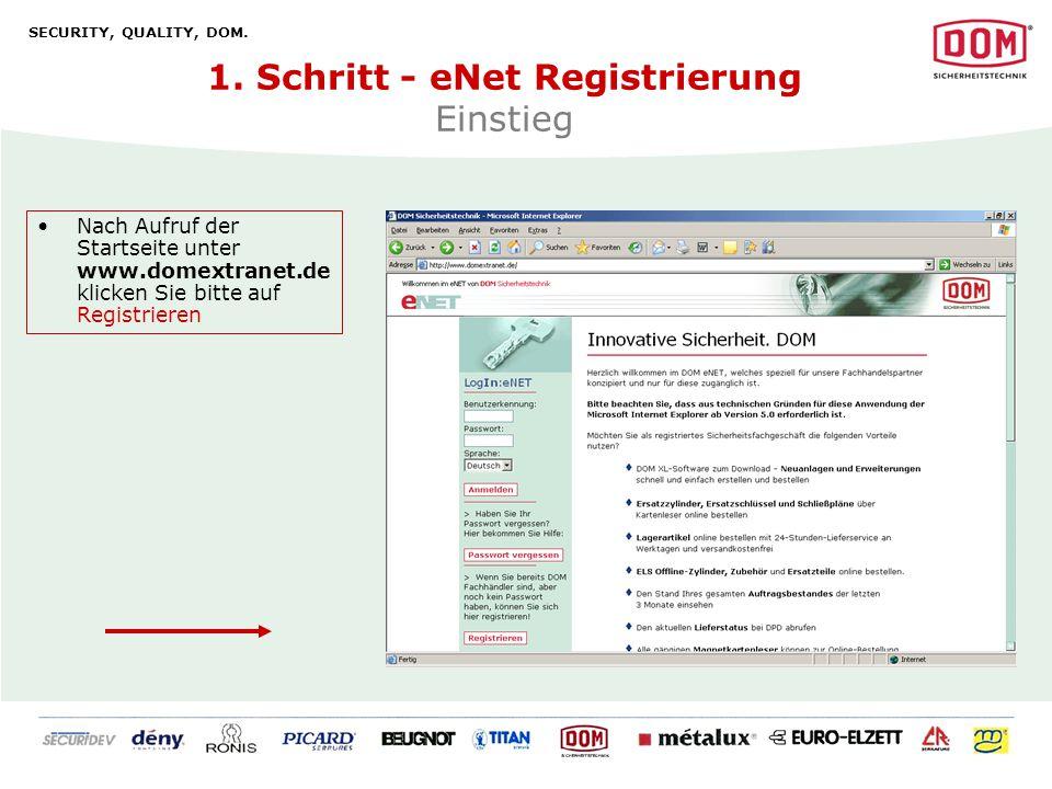 1. Schritt - eNet Registrierung Einstieg