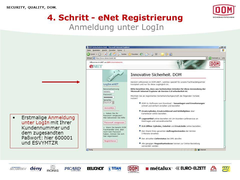 4. Schritt - eNet Registrierung Anmeldung unter LogIn