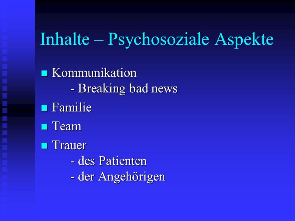 Inhalte – Psychosoziale Aspekte