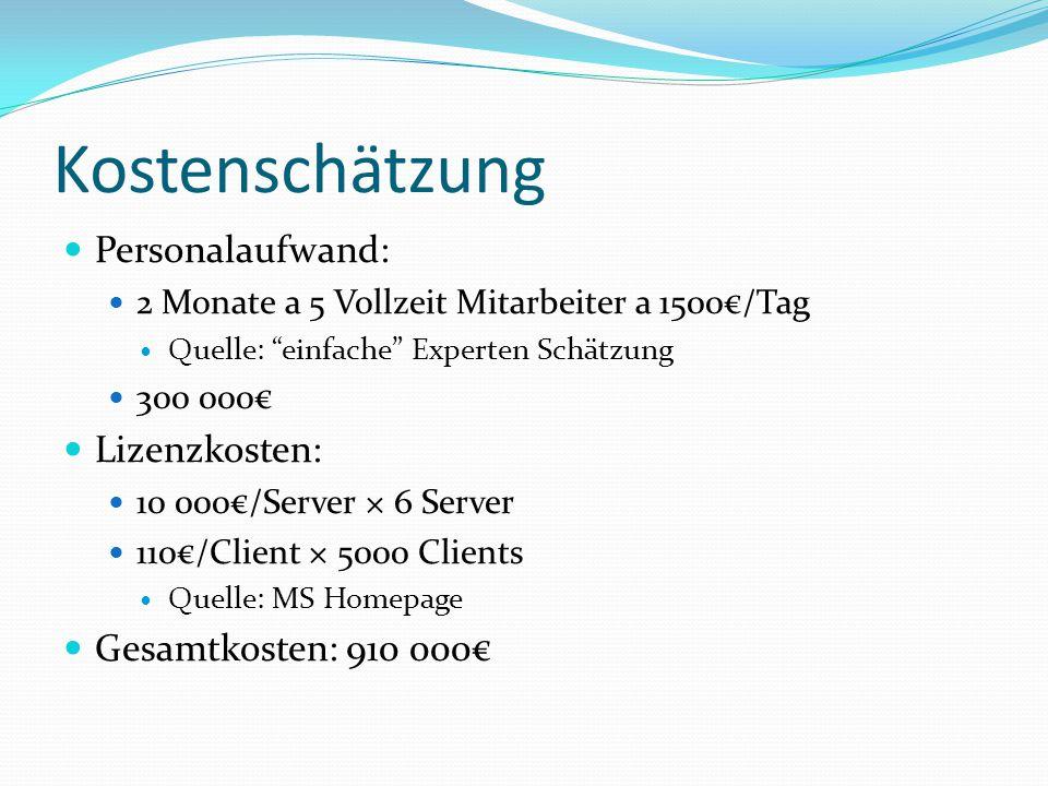 Kostenschätzung Personalaufwand: Lizenzkosten: Gesamtkosten: 910 000€