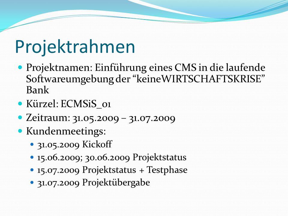 Projektrahmen Projektnamen: Einführung eines CMS in die laufende Softwareumgebung der keineWIRTSCHAFTSKRISE Bank.