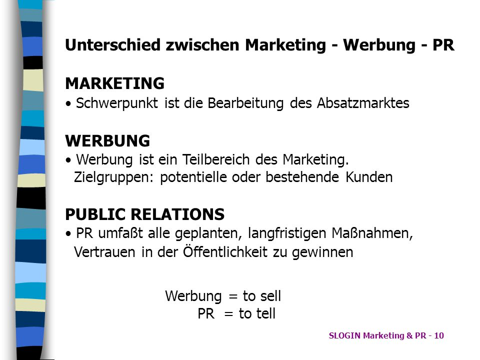 Unterschied zwischen Marketing - Werbung - PR MARKETING