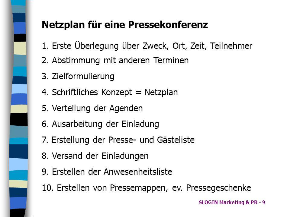 Netzplan für eine Pressekonferenz