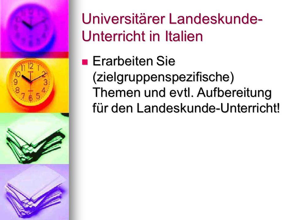 Universitärer Landeskunde-Unterricht in Italien