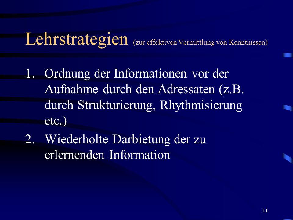 Lehrstrategien (zur effektiven Vermittlung von Kenntnissen)