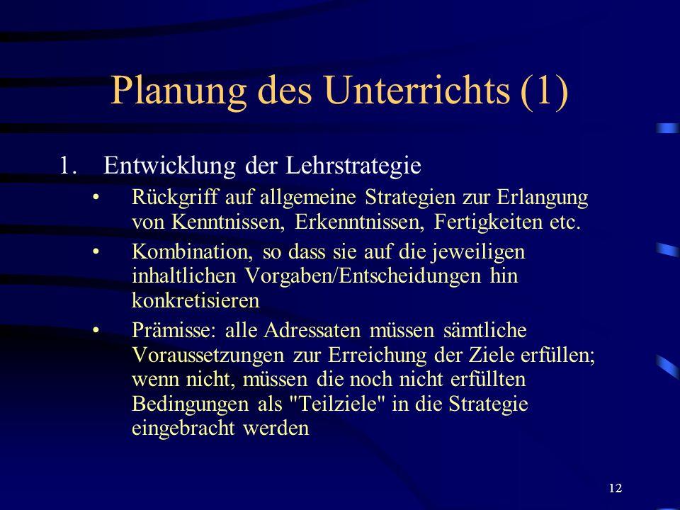 Planung des Unterrichts (1)