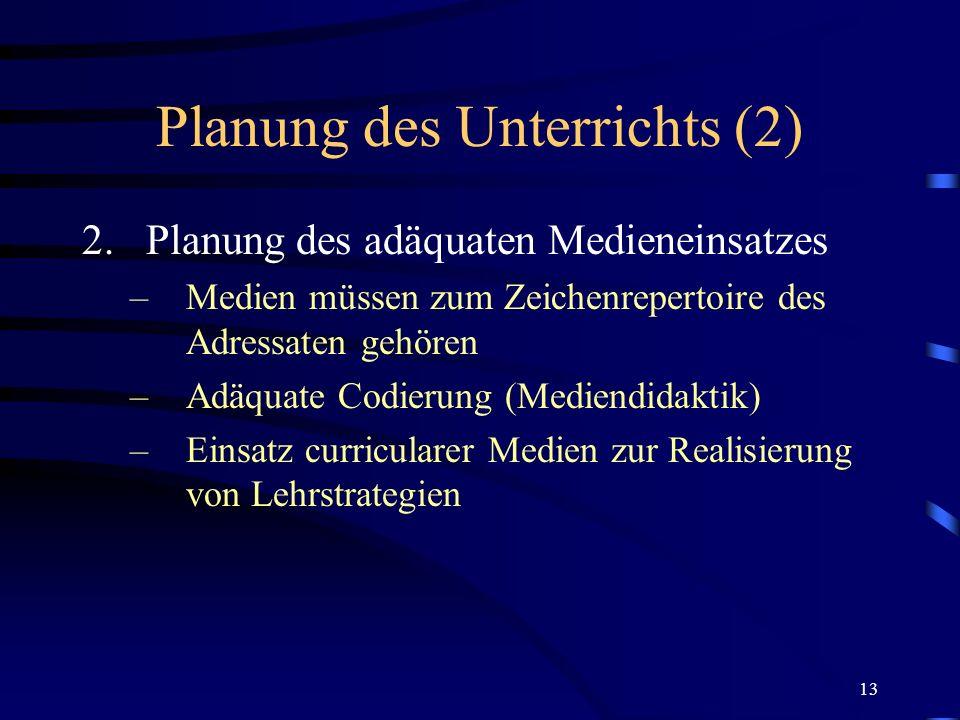 Planung des Unterrichts (2)