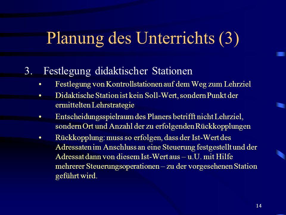 Planung des Unterrichts (3)