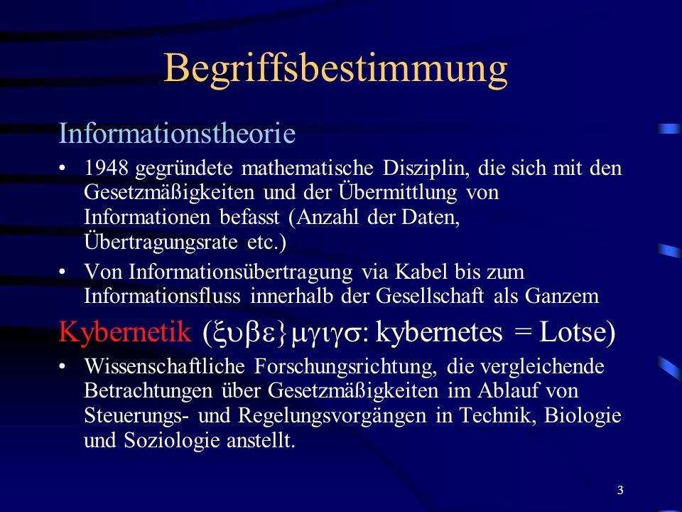 Begriffsbestimmung Informationstheorie