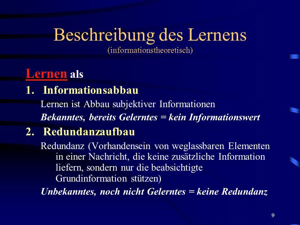 Beschreibung des Lernens (informationstheoretisch)