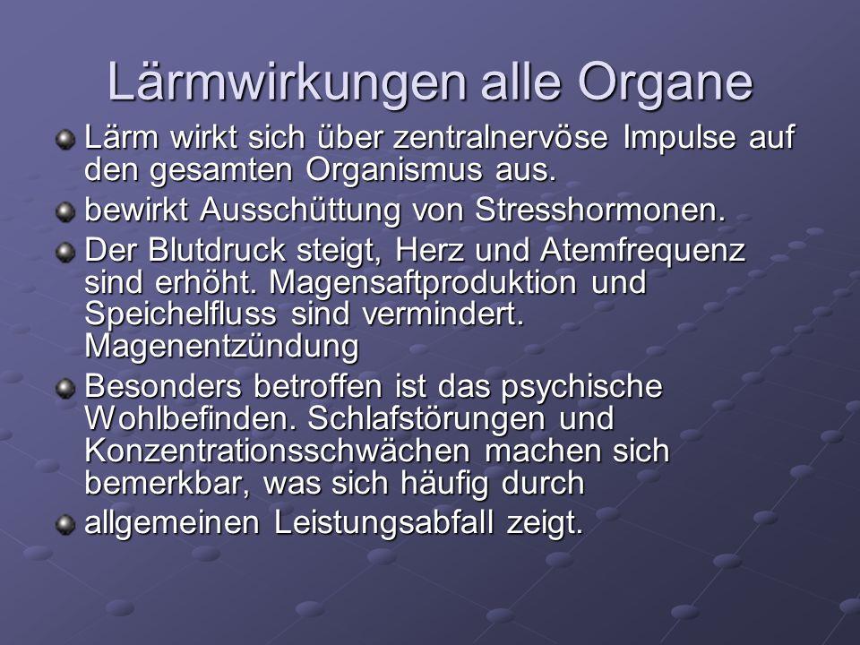 Lärmwirkungen alle Organe