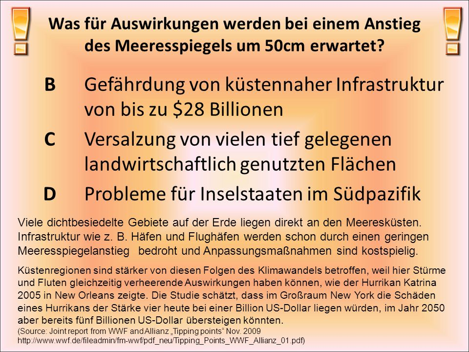Gefährdung von küstennaher Infrastruktur von bis zu $28 Billionen C