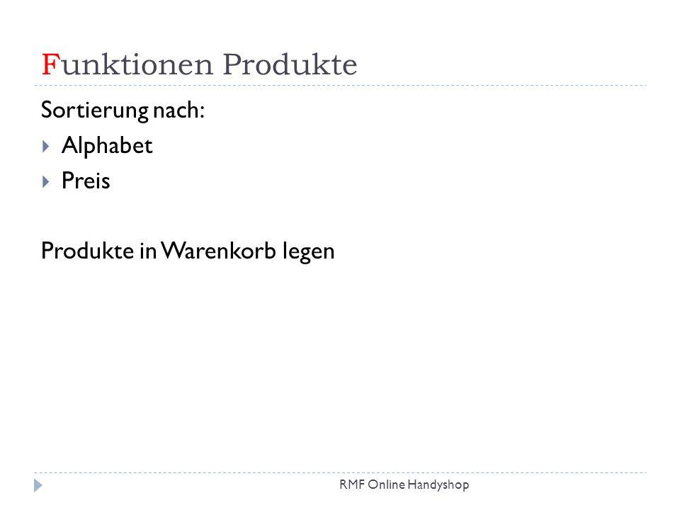Funktionen Produkte Sortierung nach: Alphabet Preis