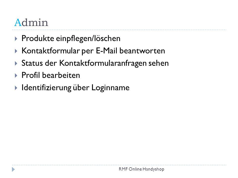 Admin Produkte einpflegen/löschen