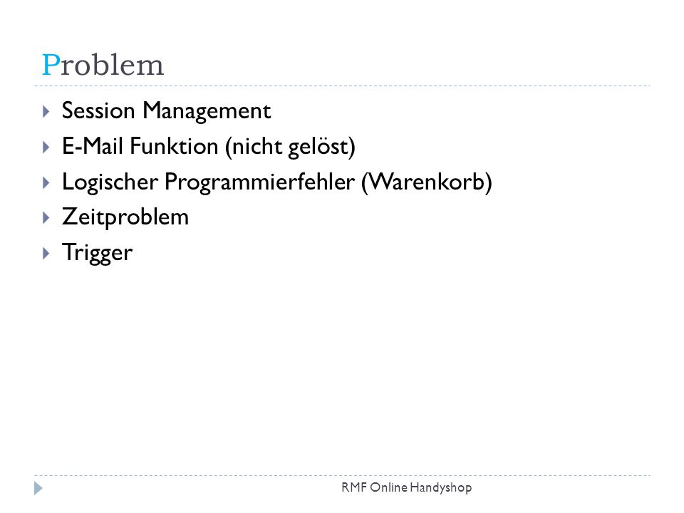 Problem Session Management  Funktion (nicht gelöst)