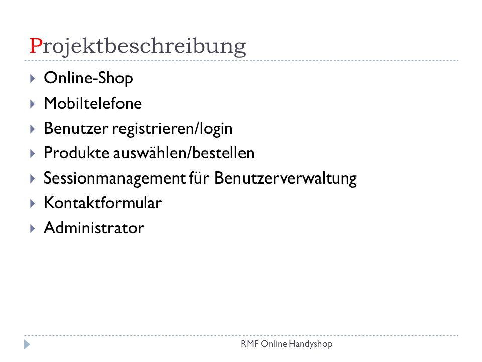 Projektbeschreibung Online-Shop Mobiltelefone