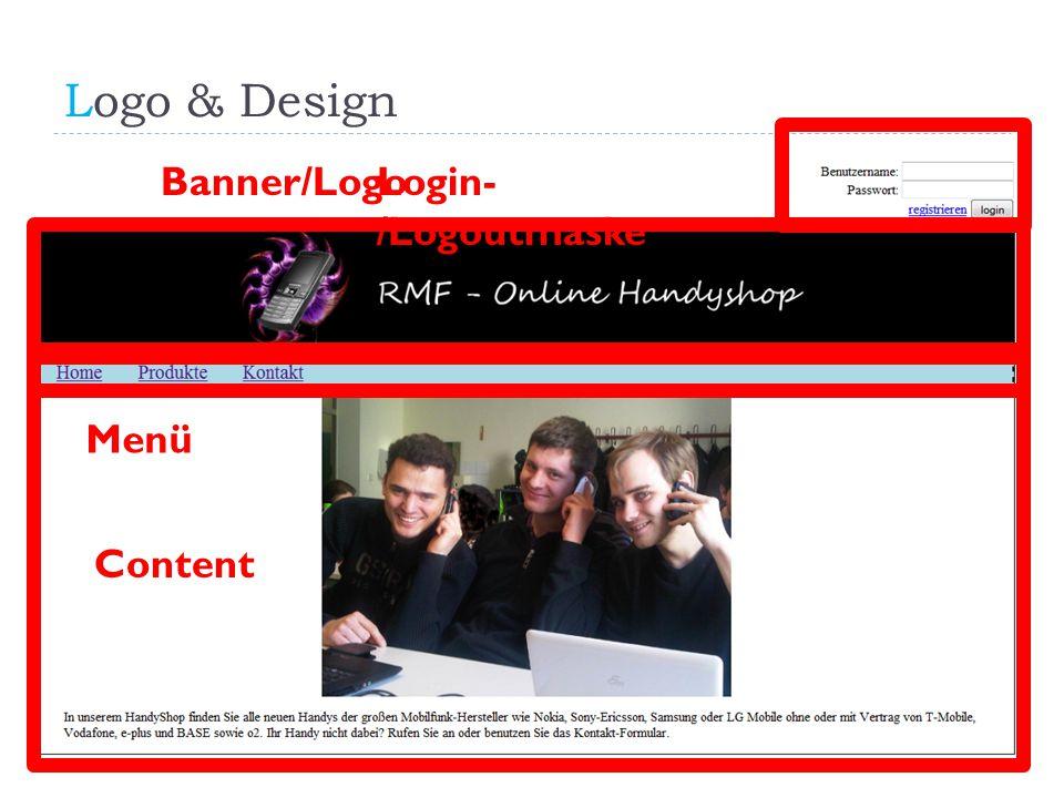 Logo & Design Banner/Logo Login-/Logoutmaske Menü Content