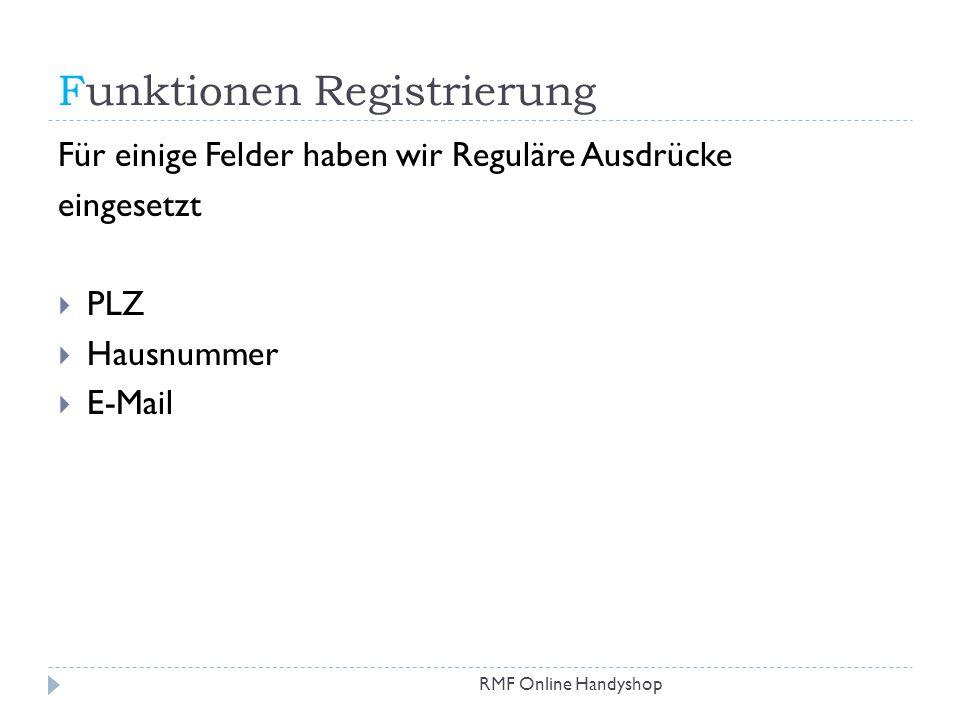 Funktionen Registrierung