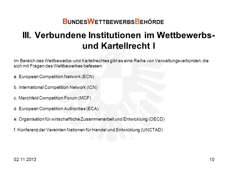 III. Verbundene Institutionen im Wettbewerbs- und Kartellrecht I