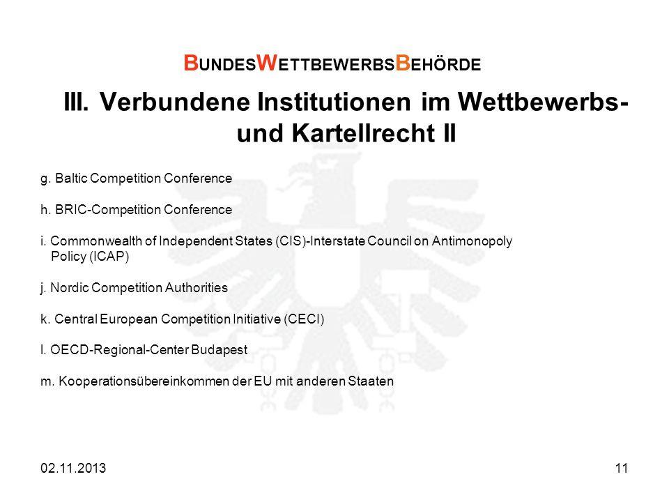 III. Verbundene Institutionen im Wettbewerbs- und Kartellrecht II