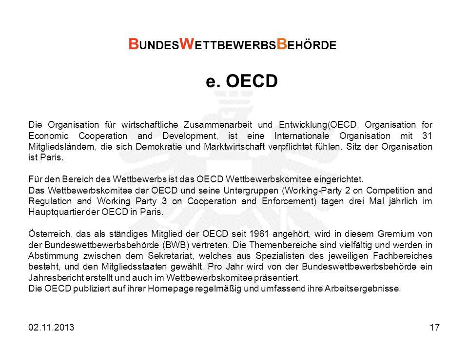 e. OECD BUNDESWETTBEWERBSBEHÖRDE