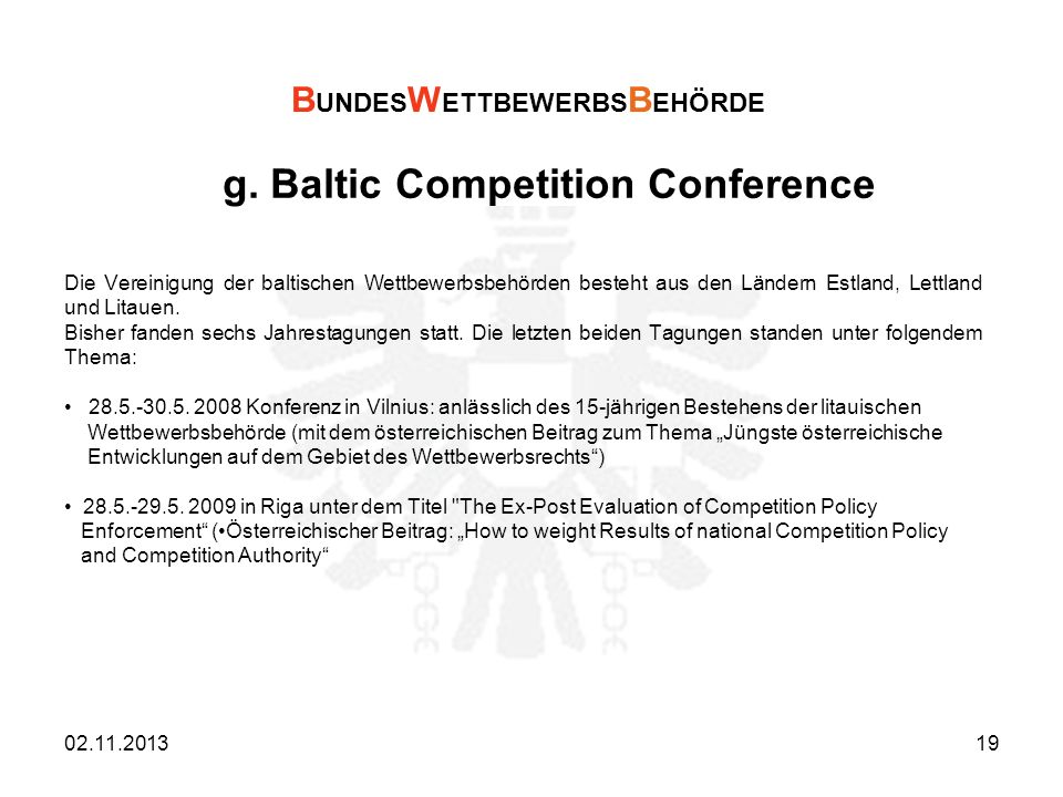 g. Baltic Competition Conference