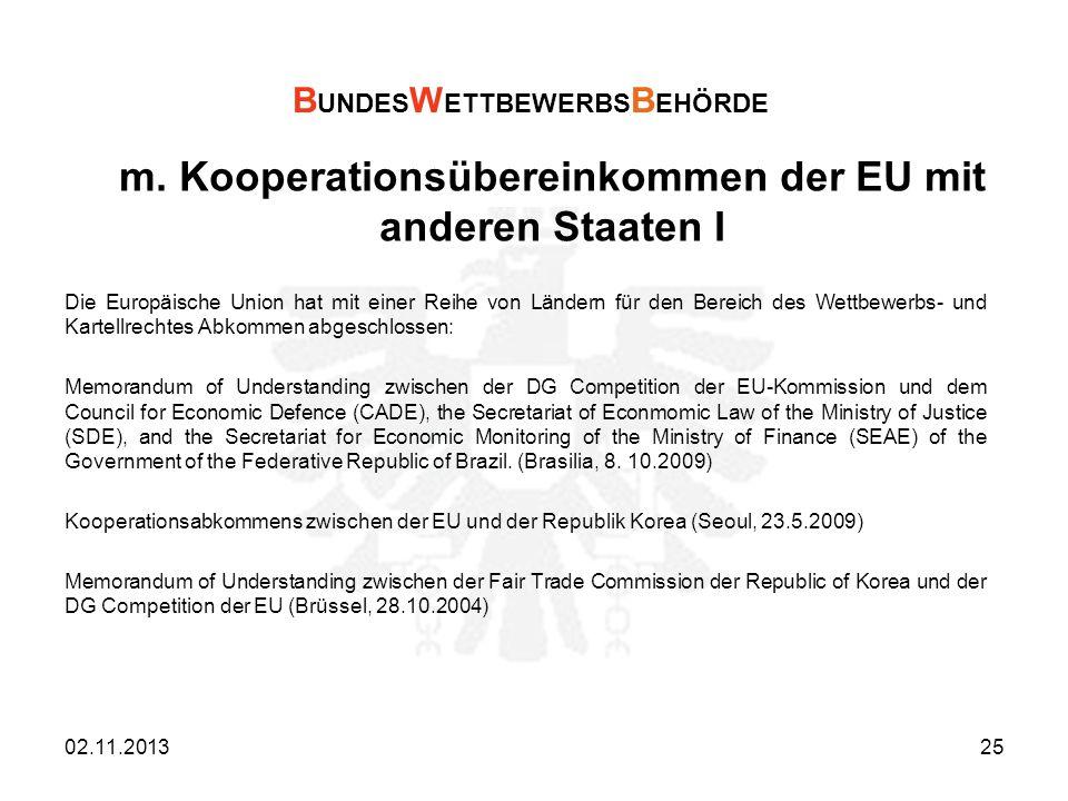 m. Kooperationsübereinkommen der EU mit anderen Staaten I