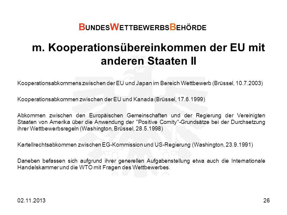m. Kooperationsübereinkommen der EU mit anderen Staaten II
