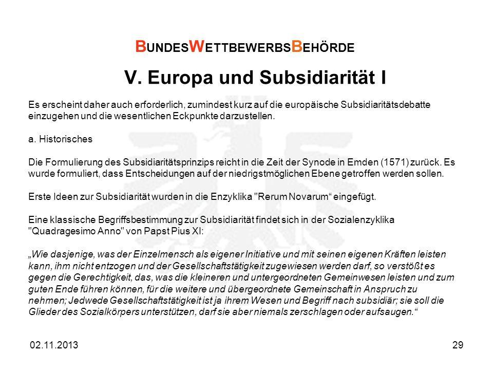 V. Europa und Subsidiarität I