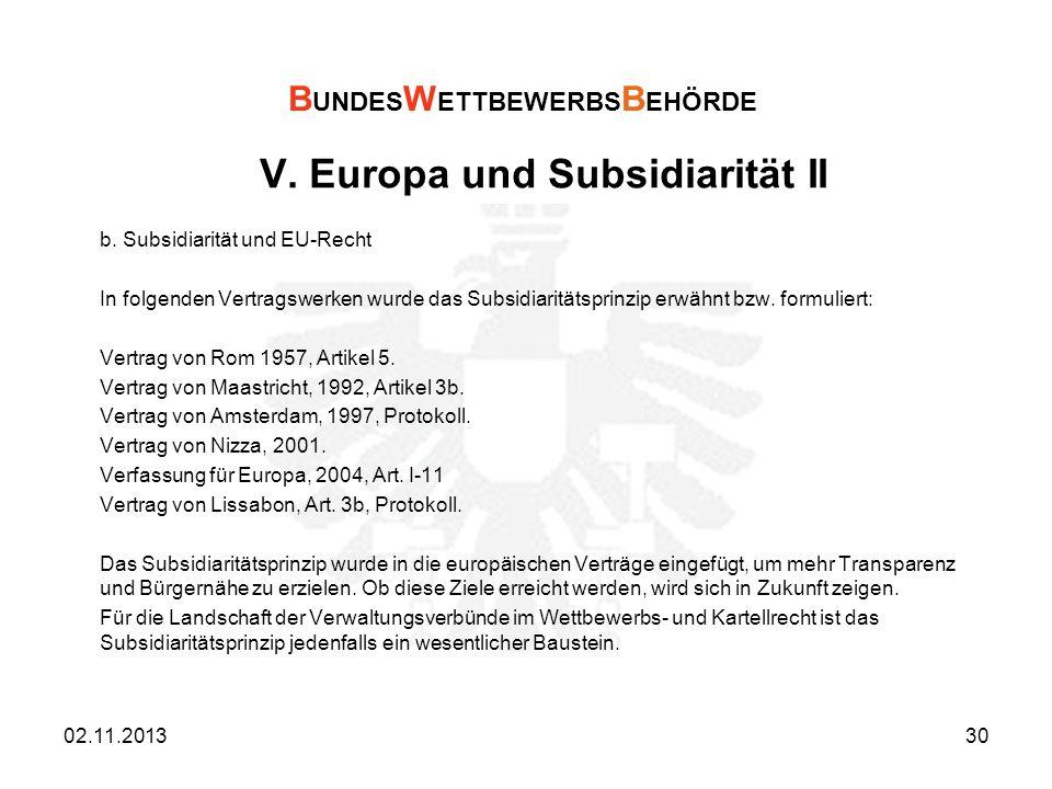 V. Europa und Subsidiarität II