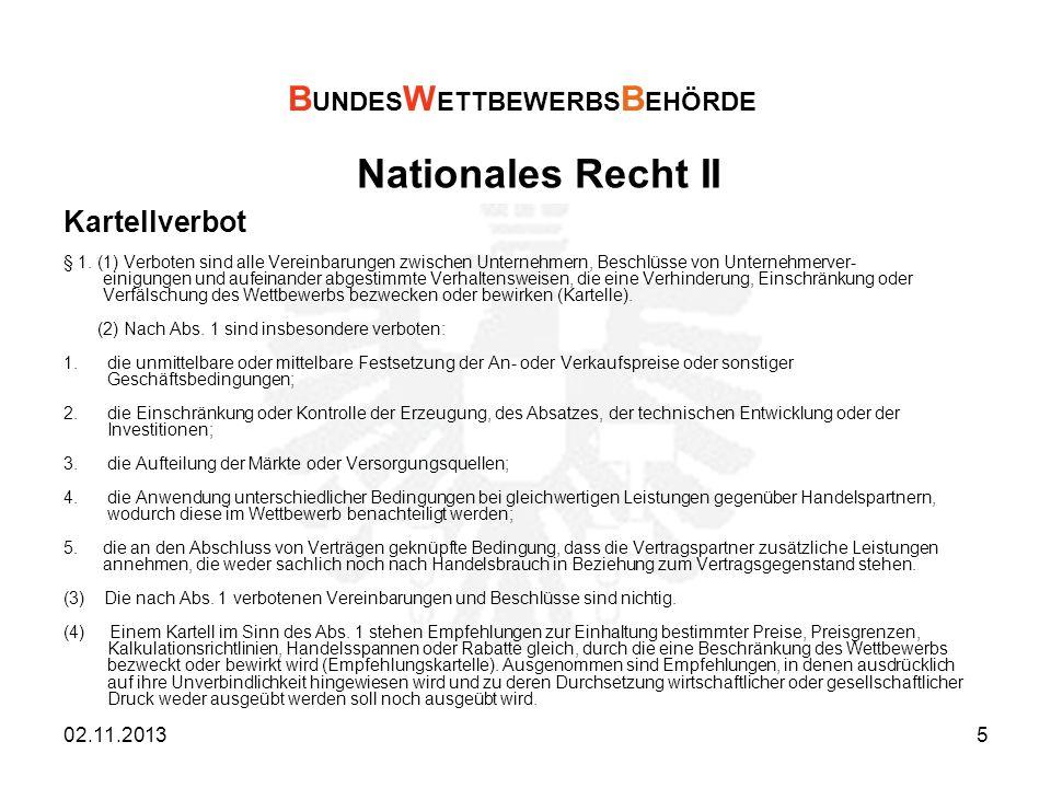 Nationales Recht II BUNDESWETTBEWERBSBEHÖRDE Kartellverbot 21.03.2017