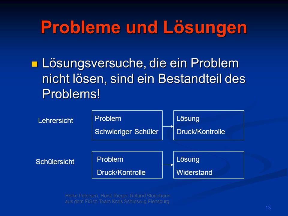 Probleme und Lösungen Lösungsversuche, die ein Problem nicht lösen, sind ein Bestandteil des Problems!