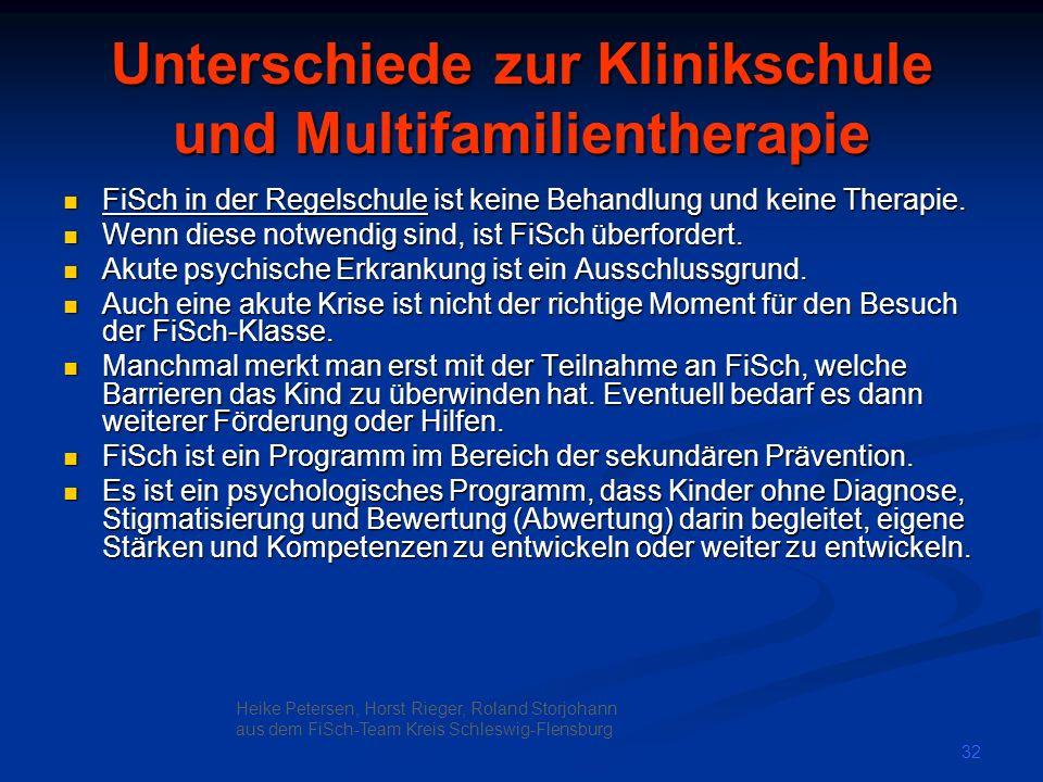 Unterschiede zur Klinikschule und Multifamilientherapie